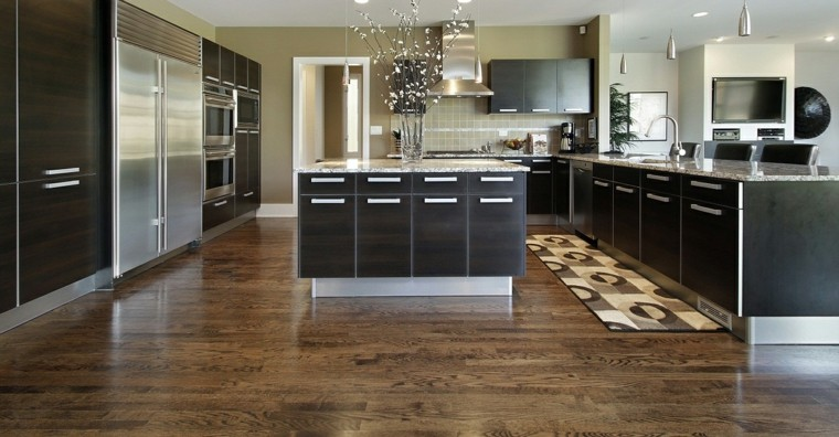 moderno cocina piso madera marrones