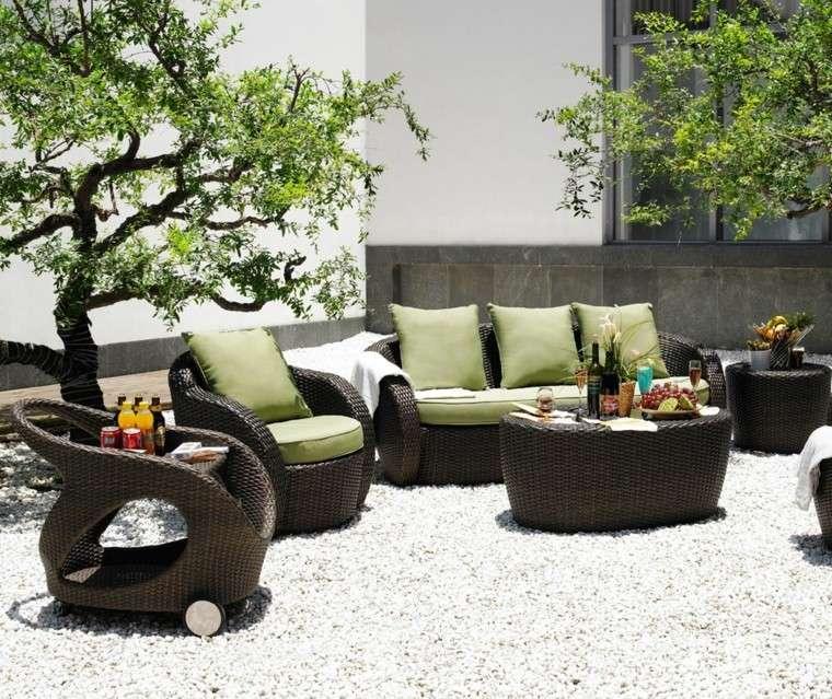 moderno conjunto muebles jardin mimbre