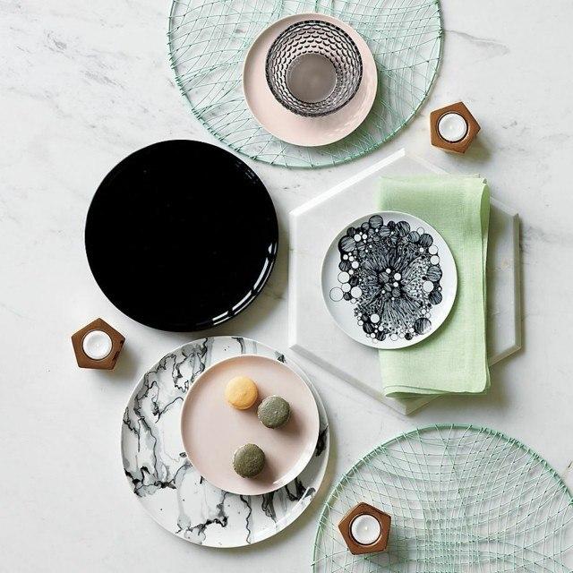 moderno juego platos negro rosa claro bonita idea