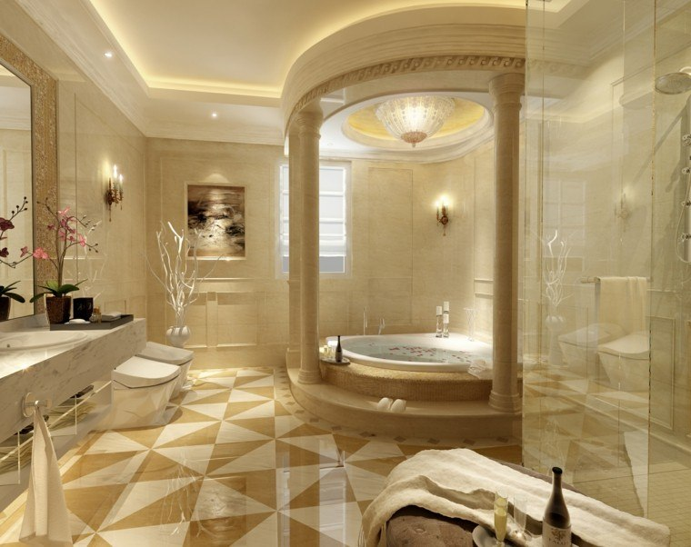 moderno lujoso baño diseño columnas