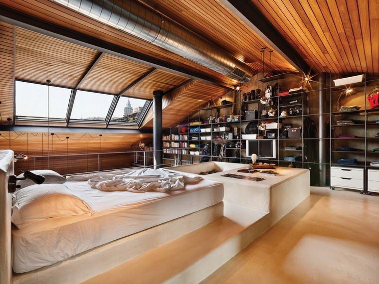 moderno madera diseño cuarto metales