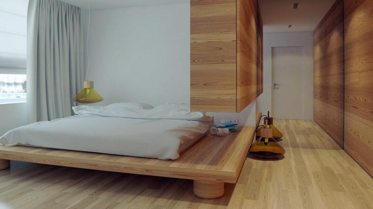 moderno madera diseño habitacion cortinas
