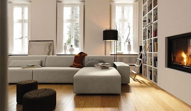 moderno mueble sofa fuego libros