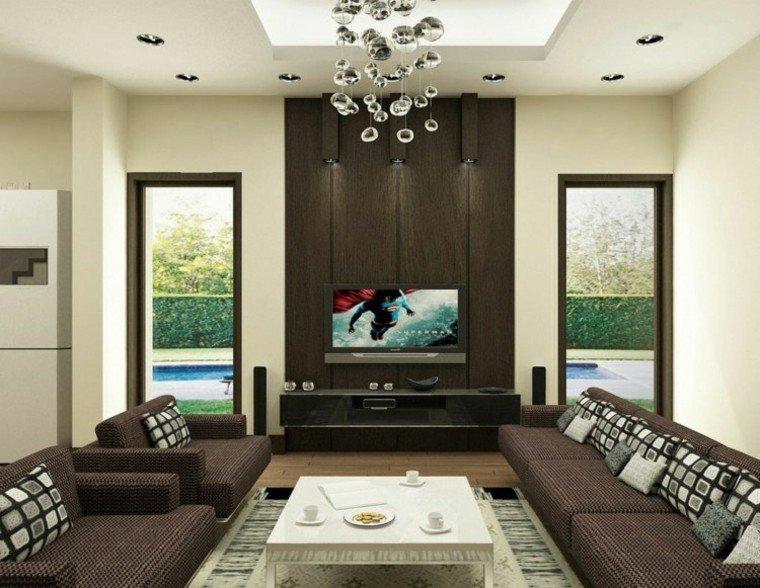 moderno mueble televisor mesa lampara