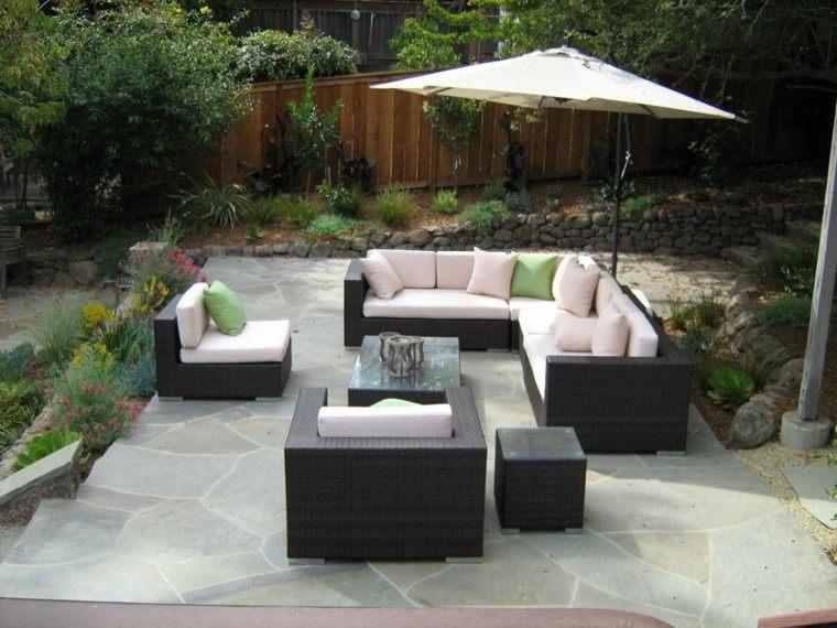 moderno sombrilla patio terraza muro