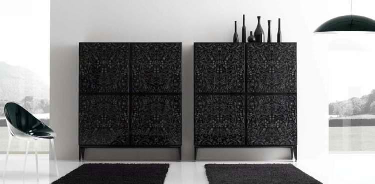 modernos sillas jarron mueble oscuro