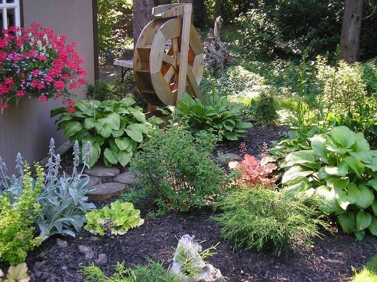 molino agua madera adorno plantas