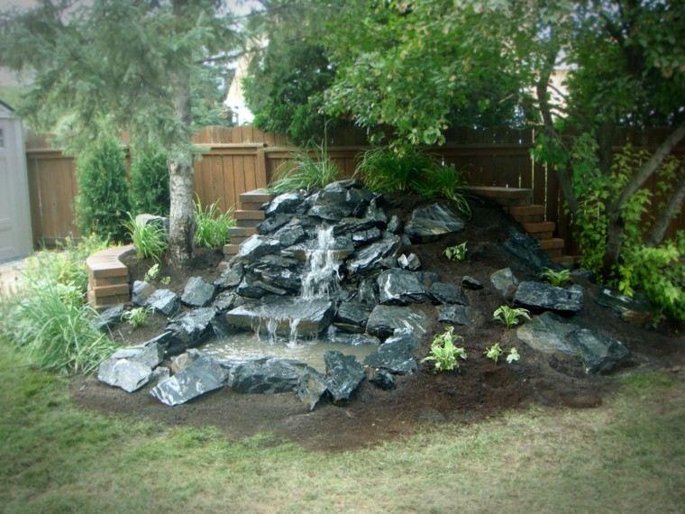 montaña rocas cascada jardin fuente