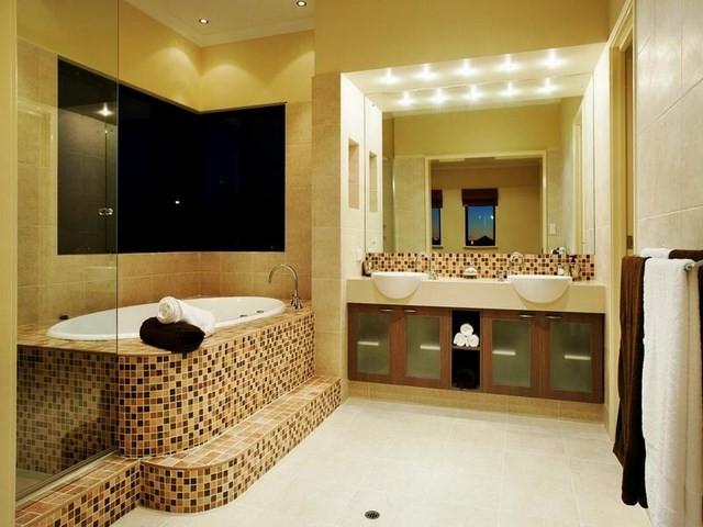 mozaico bañera calido led espejos
