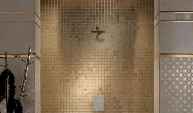 mozaico ducha dorado decoracion plano