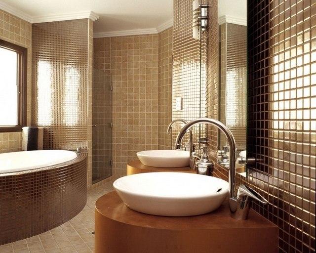 mozaico marron lavabo diseño tonos modernos