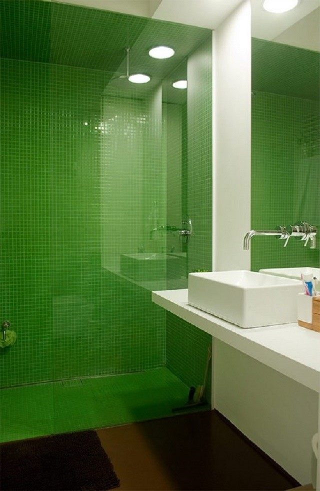 mozaico verde diseño blanco lavabo