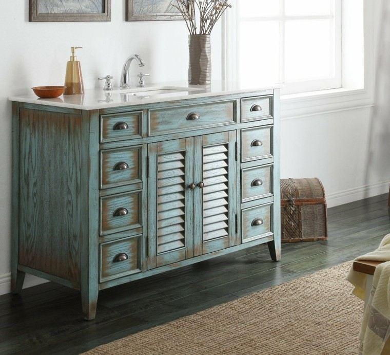mueble color azul lavadero shabby chic