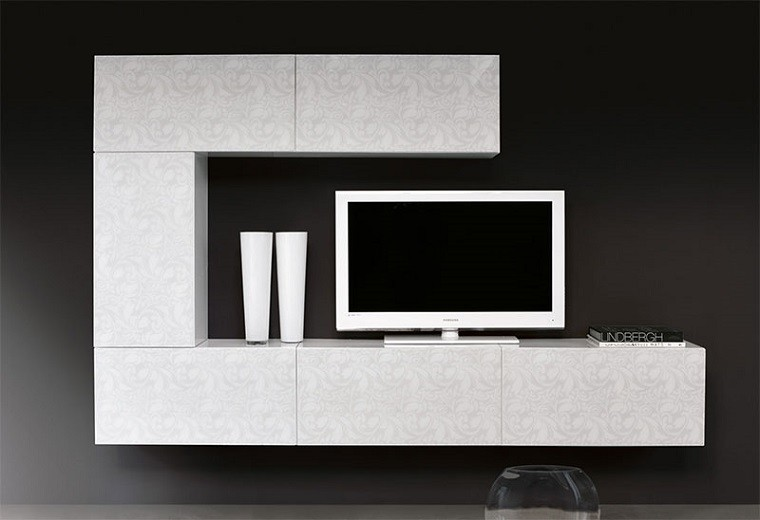 Muebles tv y bibliotecas para el sal n o sala de estar for Mueble para tv blanco