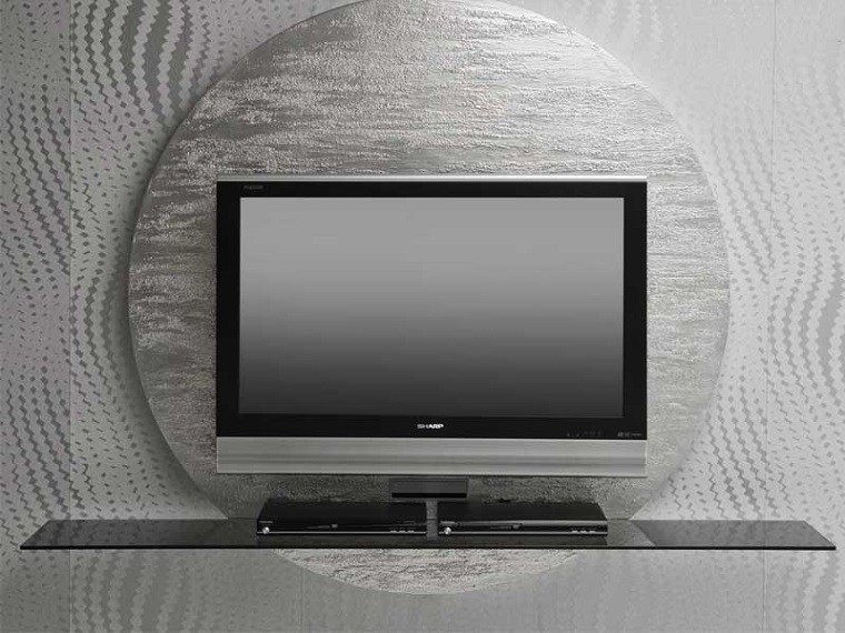 mueble mesa pared tv circulo