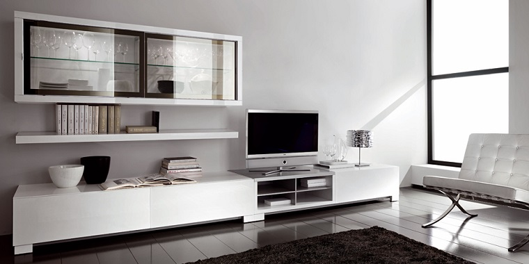Muebles tv y bibliotecas para el sal n o sala de estar for Muebles modernos living para tv