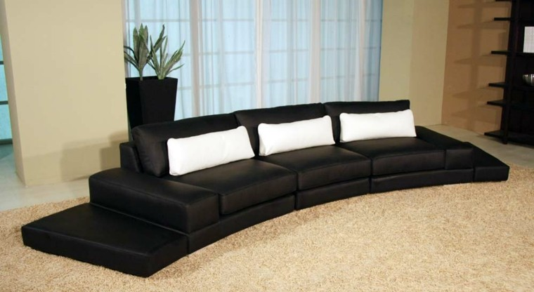 mueble sofa negro plantas alfombra