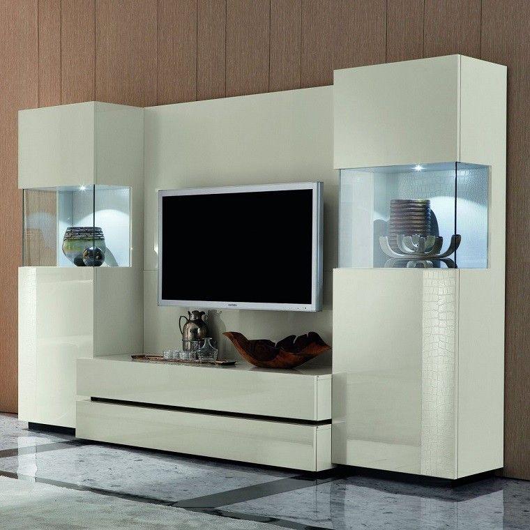mueble moderno tv color blanco
