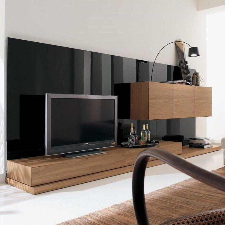 mueble tv laminado negro madera