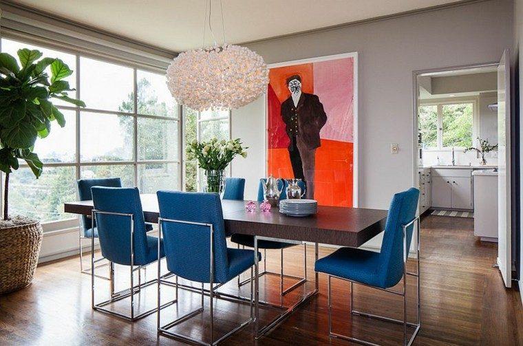 muebles azul sillas plantas cuadro plantas