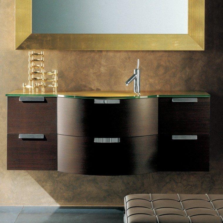 muebles baño laminado madera dorado