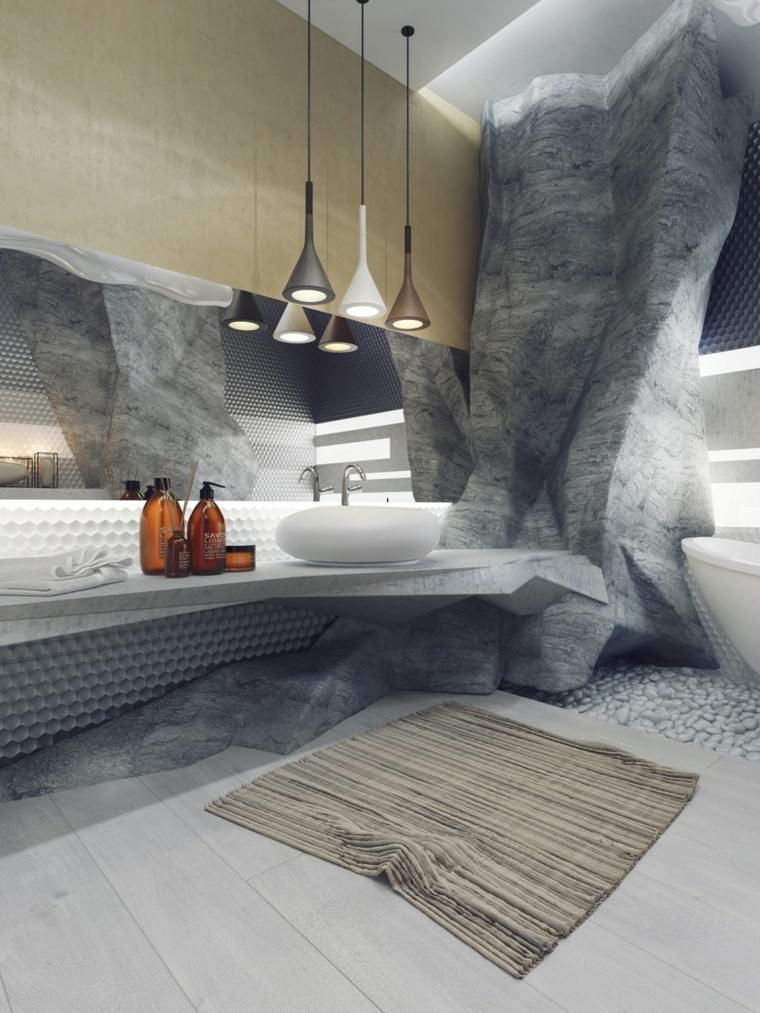 muebles baño lujosos diseño rocas