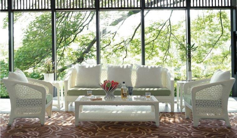 muebles blancos conjunto jardin estilo