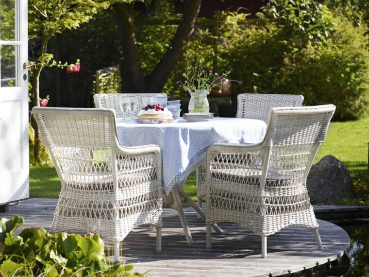 muebles blancos mantel comidas aire libre modernos