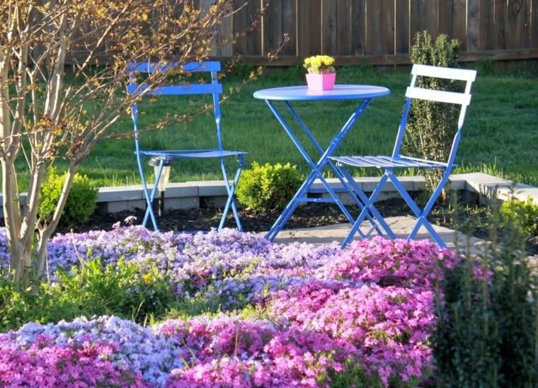 muebles comodos plegambels azul bonitos flores