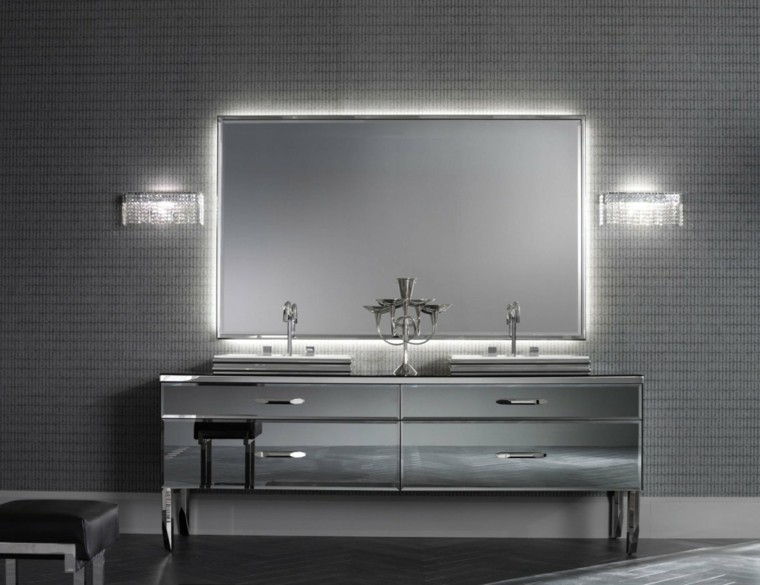 muebles de baño baratos espejo plateado
