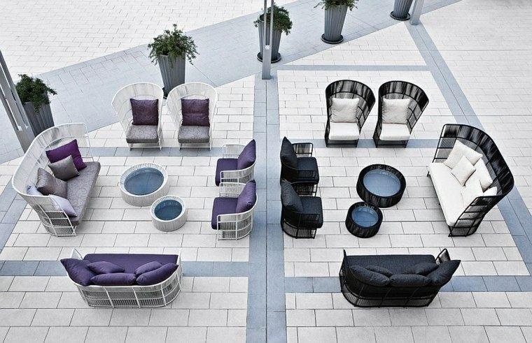 muebles de diseño ideas blanco negro modernas cojines
