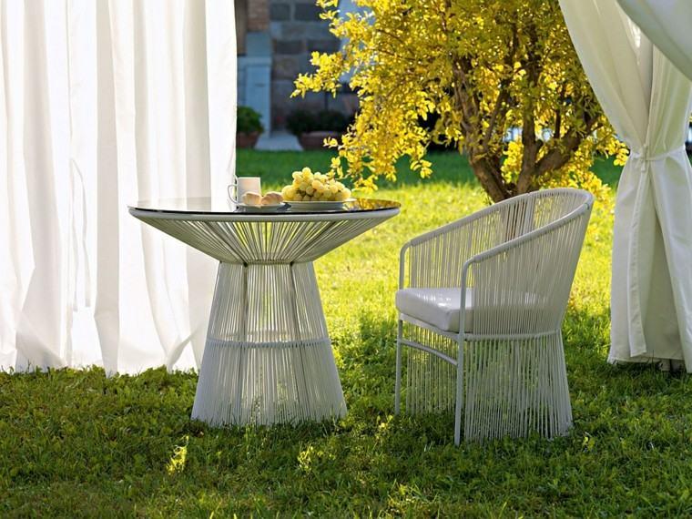 muebles de diseño jardin patio blancos modernas ideas
