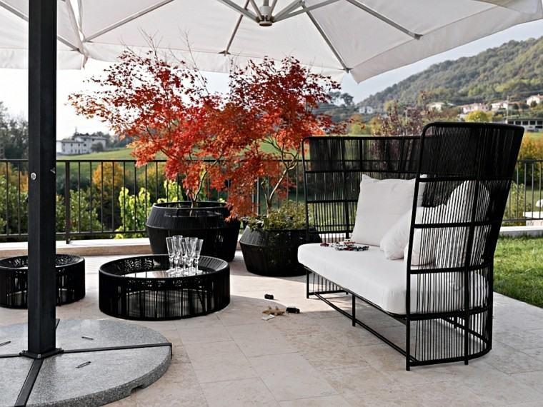 muebles de diseño sofa coleccion negra cafe macetas
