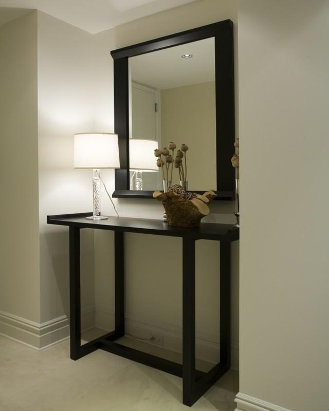 muebles de diseño entrada espejo lampara oscuro
