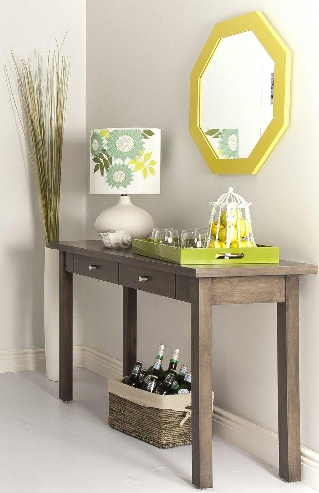 muebles de entrada espejo marco diseño amarillo