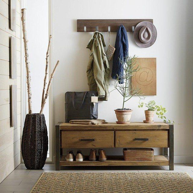 muebles de entrada madera macetas diseño flores