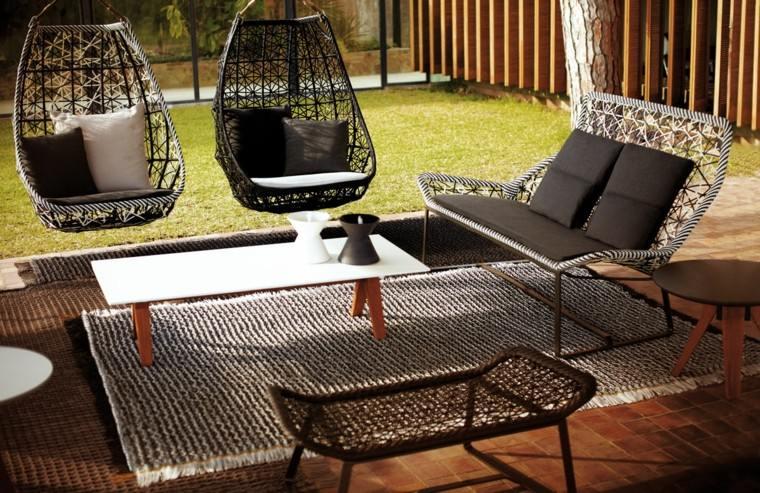 muebles de jardín alfombra sillas huevo diseño