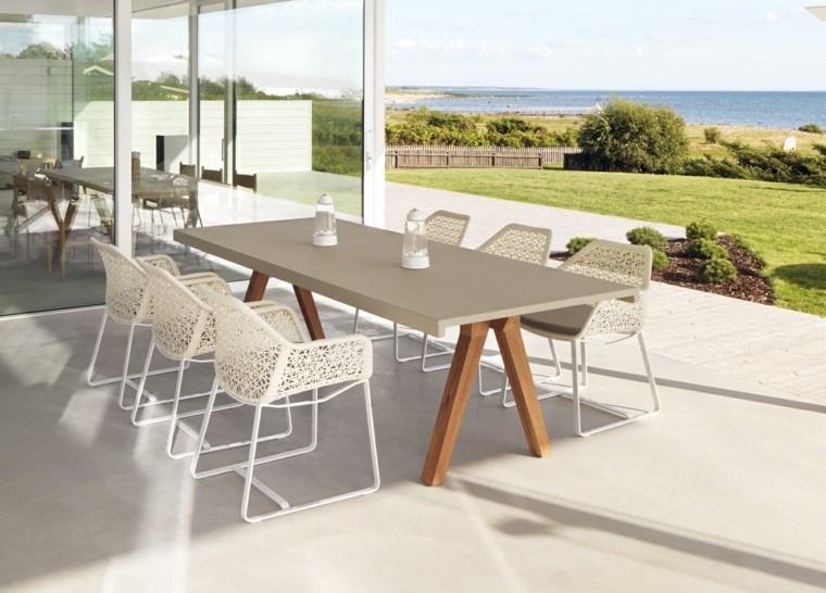 muebles de jardín blanco con mesa aluminio blanco terraza teca