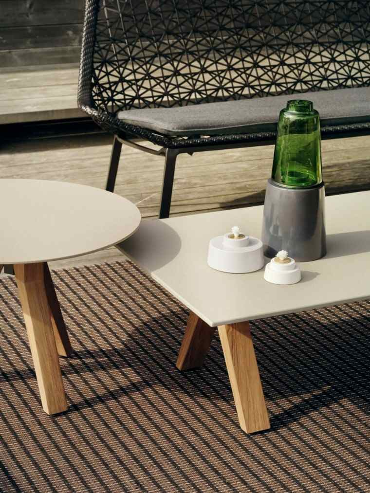 muebles de jardín blanco con mesa aluminio fibra patio farol