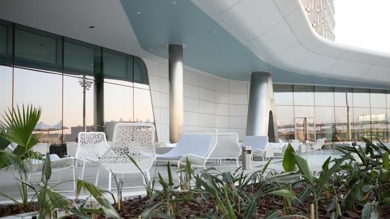 muebles de jardín aluminio plantas sillas blanco exterior