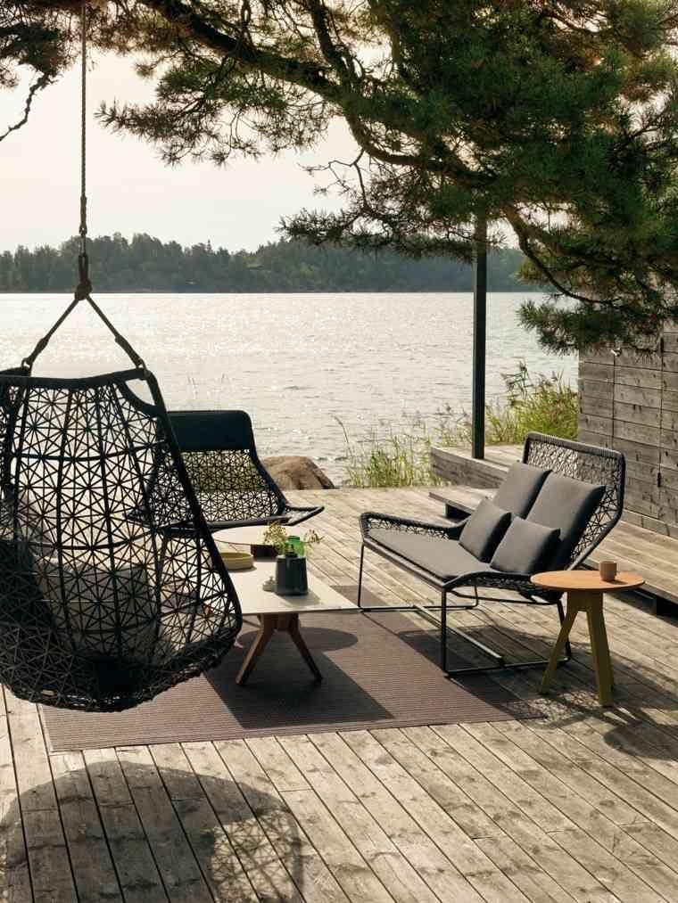 muebles de jardín lago mesa madera terraza