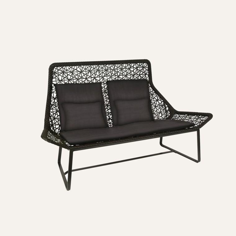 muebles de jardín sofa fibra sintetica oscuro