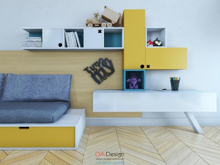 muebles dormitorios juveniles amarillo estanterias