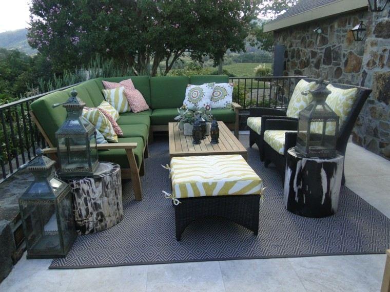 muebles jardin ideas alfombra cojines faroles modernos