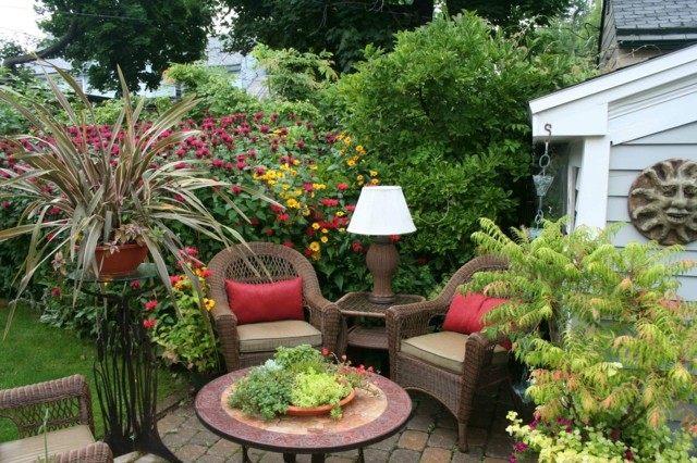 muebles jardin macetas flores modernas arboles