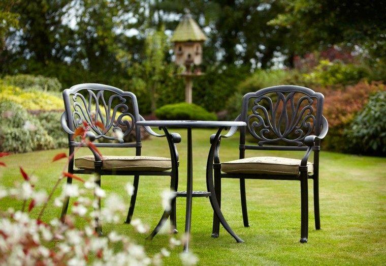 muebles jardin sillas mesa ideas negro cesped
