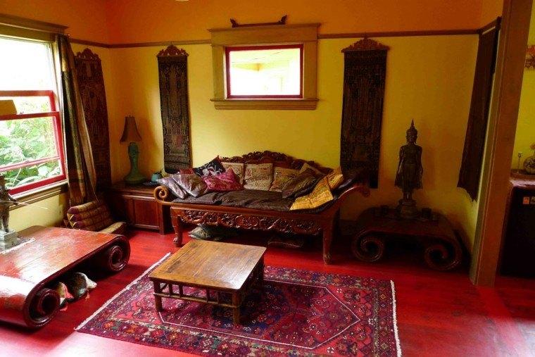 mueble madera estilo rustico suelo ideas rojo
