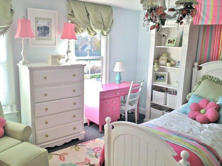 muebles madera lamparas cuadro rosado