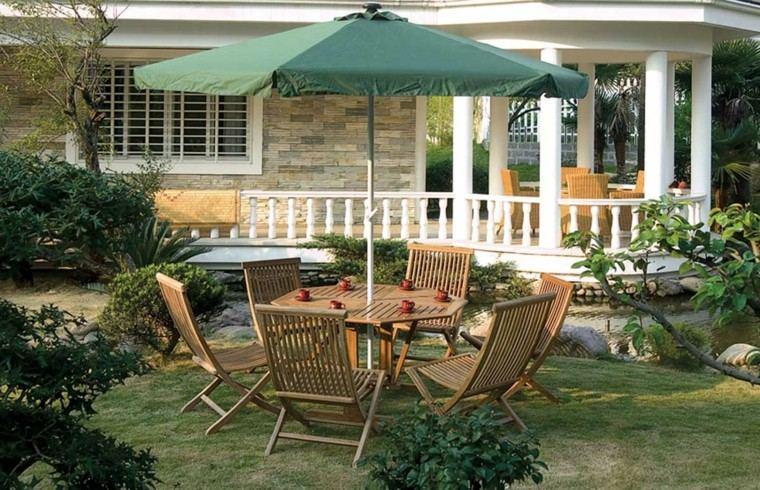 muebles plegables sillas sobrilla ideas jardin moderno
