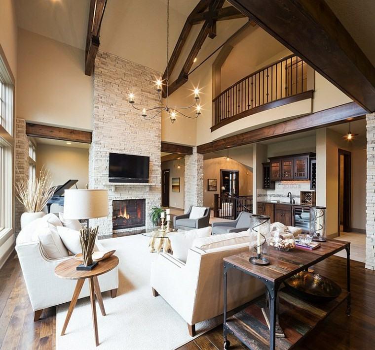 rustico estilo moderno salon chimenea baldosas